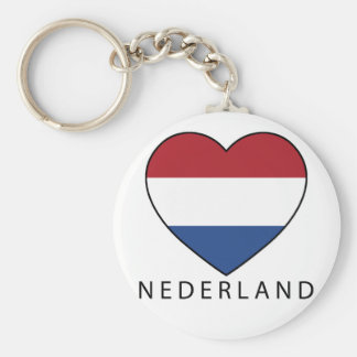 Netherland Heart with black NEDERLAND Basic Round Button Key Ring