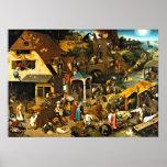 Netherlandish Proverbs, Pieter Bruegel painting Poster