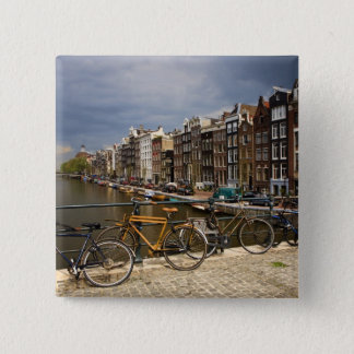 Netherlands, Amsterdam. View of canal from 15 Cm Square Badge