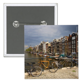 Netherlands, Amsterdam. View of canal from Pinback Buttons
