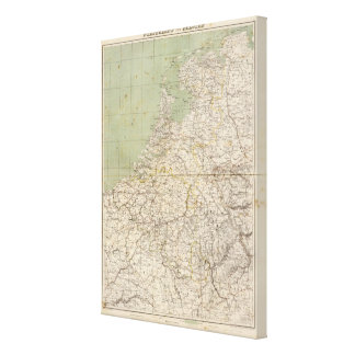 Netherlands and Belgium Atlas Map Canvas Print