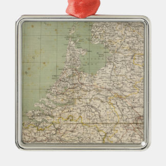 Netherlands and Belgium Atlas Map Silver-Colored Square Decoration