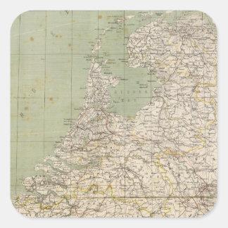 Netherlands and Belgium Atlas Map Square Sticker