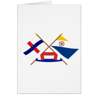 Netherlands Antilles and Bonaire Crossed Flags Card