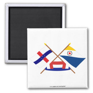 Netherlands Antilles and Bonaire Crossed Flags Square Magnet
