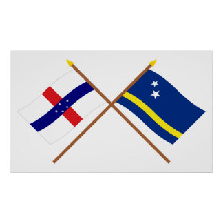Netherlands Antilles and Curacao Crossed Flags Poster
