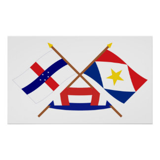 Netherlands Antilles and Saba Crossed Flags Print
