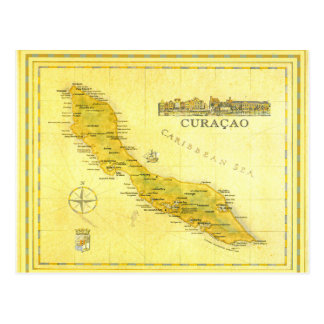 Netherlands Antilles, Curacao Map (Paper) Postcard