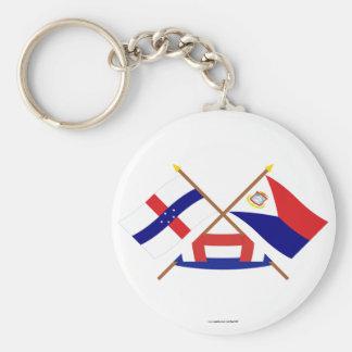 Netherlands Antilles & Sint Maarten Crossed Flags Key Chain