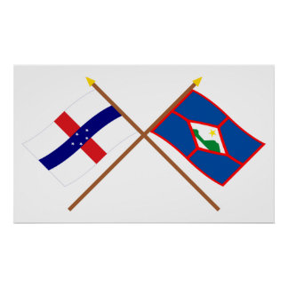 Netherlands Antilles & St. Eustatius Crossed Flags Posters