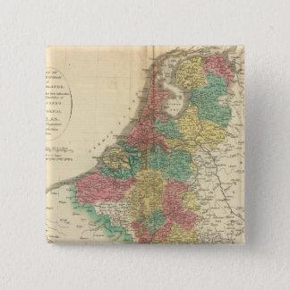 Netherlands, Beligium Atlas Map 15 Cm Square Badge