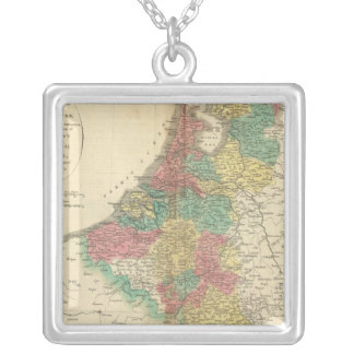 Netherlands, Beligium Atlas Map Silver Plated Necklace