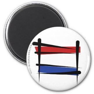 Netherlands Brush Flag 6 Cm Round Magnet