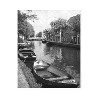 Netherlands Canal Stretched Canvas Print