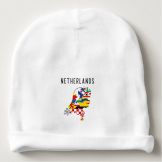 Netherlands country regions province flag map symb baby beanie