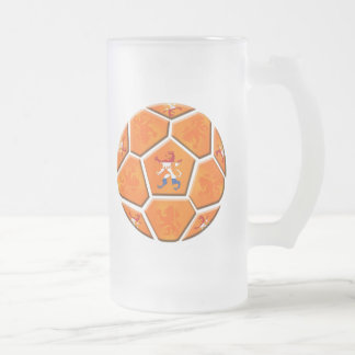 Netherlands Dutch flag Soccer ball gifts Frosted Glass Mug