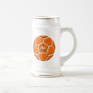Netherlands Dutch flag Soccer ball gifts 18 Oz Beer Stein