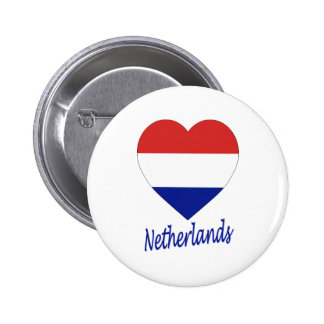 Netherlands Flag Heart 6 Cm Round Badge