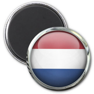 Netherlands Flag Round Glass Ball 6 Cm Round Magnet