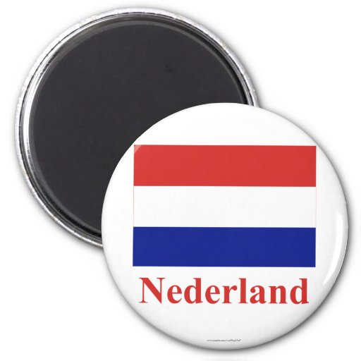 Netherlands Flag with Name in Dutch Magnets