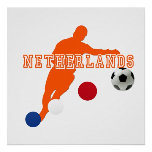 Netherlands football player soccer ball gear poster