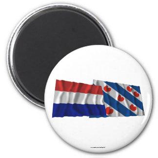 Netherlands & Friesland Waving Flags 6 Cm Round Magnet