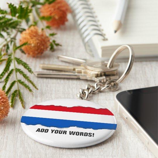 Netherlands Holland Flag Basic Round Button Key Ring