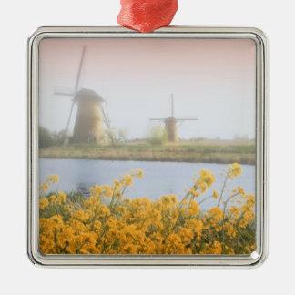 Netherlands, Kinderdijk. Windmills next to 2 Christmas Ornament