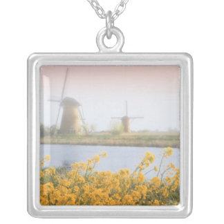 Netherlands, Kinderdijk. Windmills next to 2 Silver Plated Necklace
