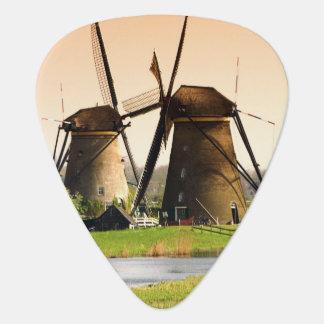 Netherlands, Kinderdijk. Windmills next to Guitar Pick