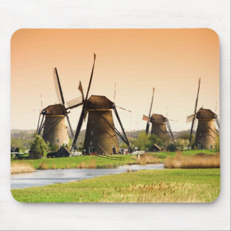 Netherlands, Kinderdijk. Windmills next to Mouse Mat