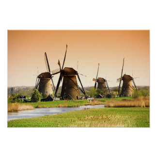 Netherlands, Kinderdijk. Windmills next to Poster