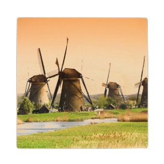 Netherlands, Kinderdijk. Windmills next to Wood Coaster
