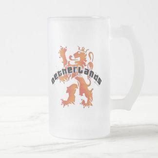 Netherlands lion logo frosted glass beer mug