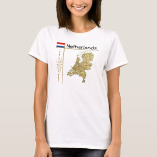 Netherlands Map + Flag + Title T-Shirt