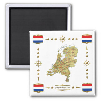 Netherlands Map + Flags Magnet
