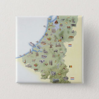 Netherlands, map showing distinguishing features 15 cm square badge