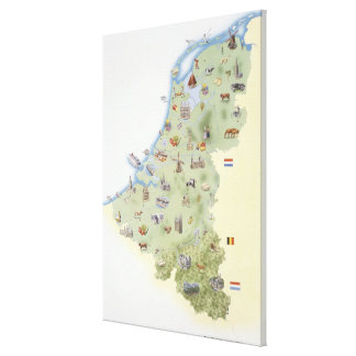 Netherlands, map showing distinguishing features canvas prints