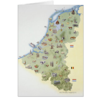Netherlands, map showing distinguishing features card
