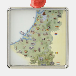 Netherlands, map showing distinguishing features christmas ornament
