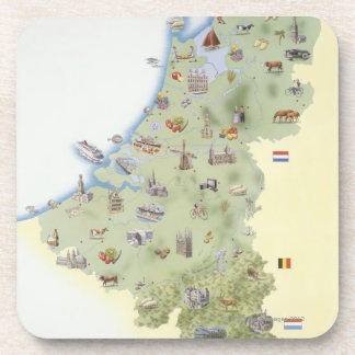 Netherlands, map showing distinguishing features coaster