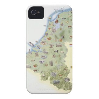 Netherlands, map showing distinguishing features iPhone 4 Case-Mate cases