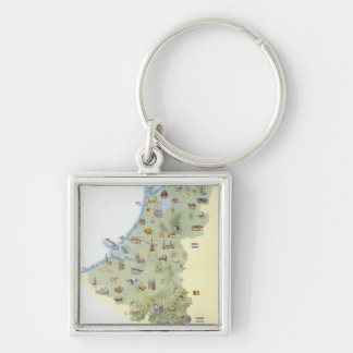 Netherlands, map showing distinguishing features key ring