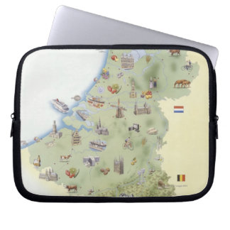 Netherlands, map showing distinguishing features laptop sleeve
