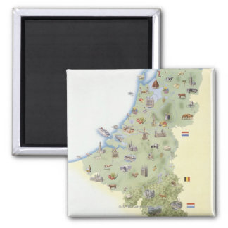 Netherlands, map showing distinguishing features magnet