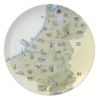 Netherlands, map showing distinguishing features plate