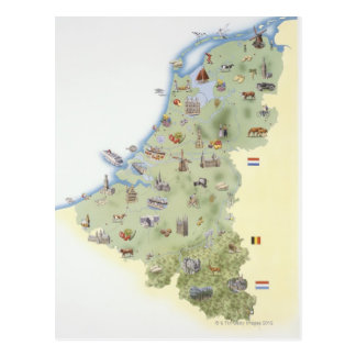 Netherlands, map showing distinguishing features postcard