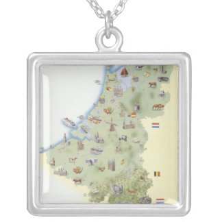 Netherlands, map showing distinguishing features silver plated necklace