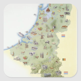 Netherlands, map showing distinguishing features square sticker