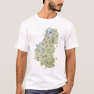 Netherlands, map showing distinguishing features T-Shirt